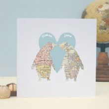 Penguins In Love Map Personalised Valentine's Day Card, Wedding, Anniversary Card, Romantic Personalised Keepsake Card